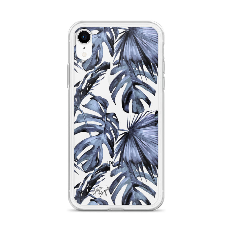Clear Tropical Palm Leaf iPhone Case Navy Blue by Nature Magick