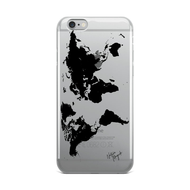 Clear World Map iPhone Case by Nature Magick in Black