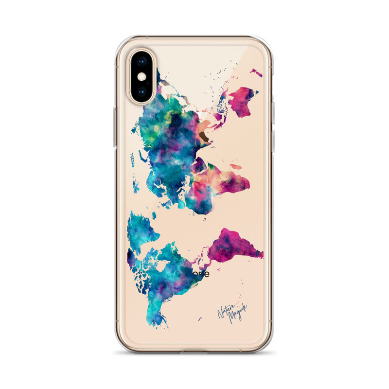 Clear Watercolor World Map iPhone Case by Nature Magick