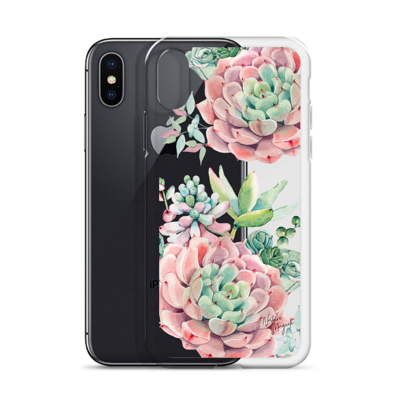 Clear Succulent Phone Case for iPhone in Pink by Nature Magick