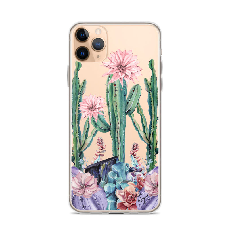 Clear Cactus iPhone Case Succulent Gemstones by Nature Magick