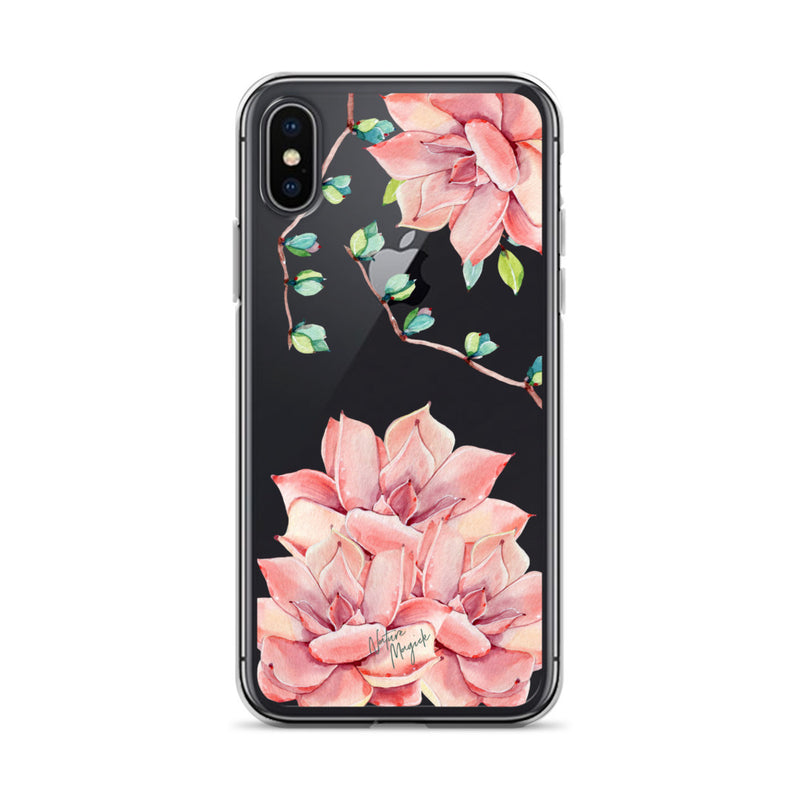 Clear Succulent Phone Case for iPhone Pink by Nature Magick
