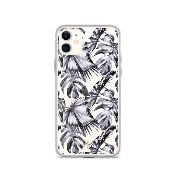 Clear Tropical Palm Leaf iPhone Case Purple Leaves by Nature Magick