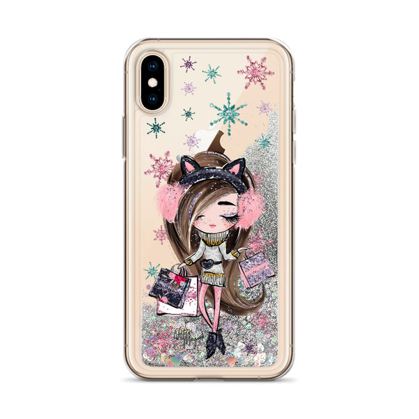 Christmas Glitter iPhone Case Holiday Shop Girl by Nature Magick
