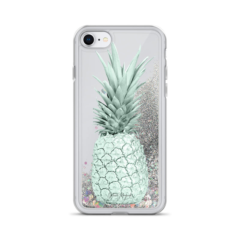 Pineapple Glitter iPhone Case Pastel Green by Nature Magick
