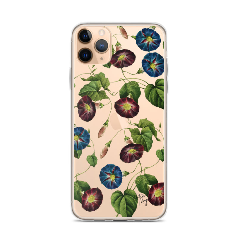 Clear Vintage Floral iPhone Case Purple Blue Flowers by Nature Magick