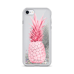 Pineapple Glitter iPhone Case Red Hot Pink by Nature Magick