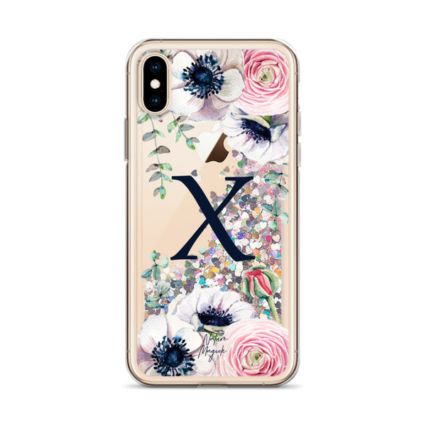 "Monogram Glitter iPhone Case Initial ""X"" Rose Floral by Nature Magick"