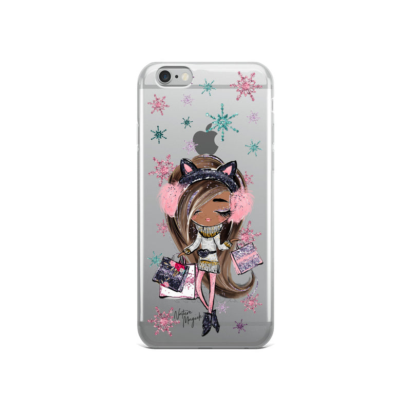 Clear Christmas iPhone Case Holiday Shop Girl by Nature Magick