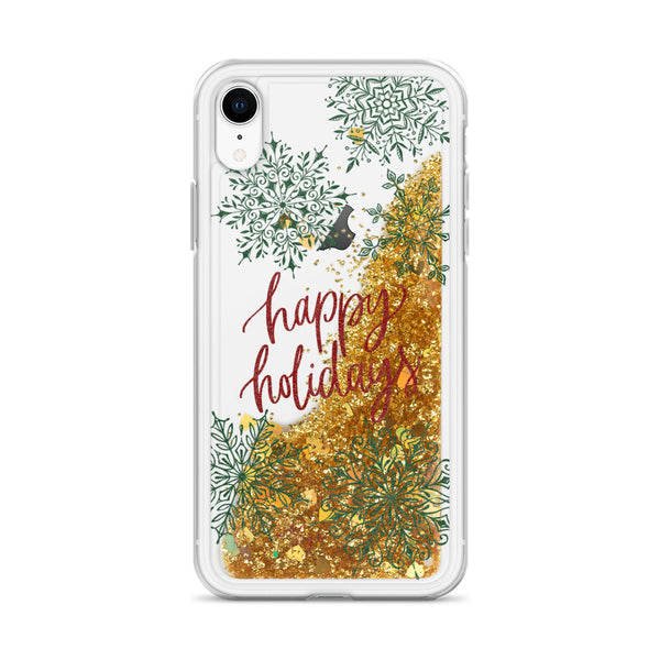 Christmas Glitter iPhone Case Happy Holidays Snowflakes by Nature Magick