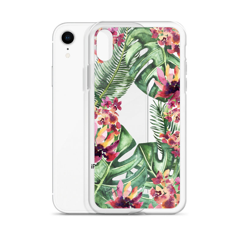 Clear Palm Leaf Floral iPhone Case by Nature Magick