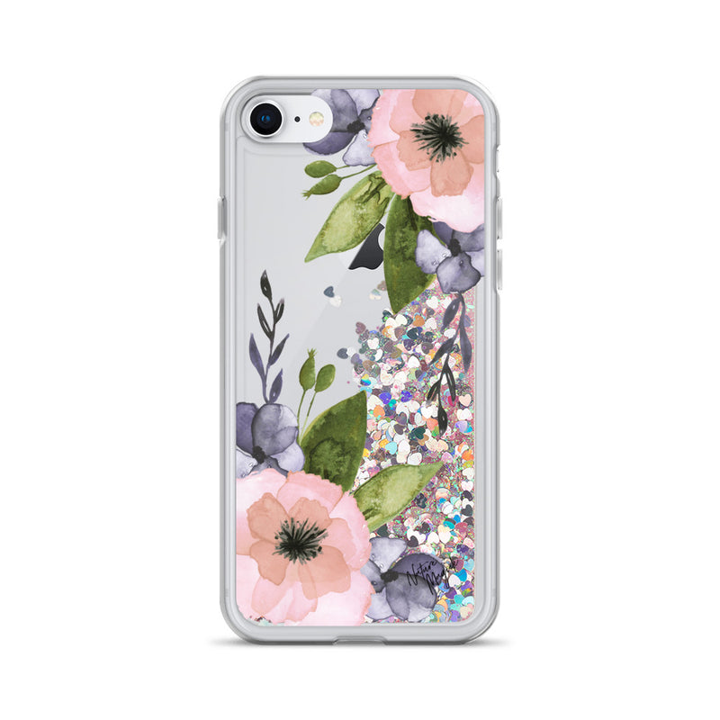 Floral Glitter iPhone Case Pink Purple Flower by Nature Magick