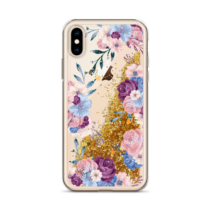 Floral Glitter iPhone Case in Pink, Purple, and Blue Roses by Nature Magick