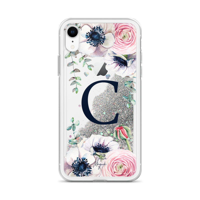 "Monogram Glitter iPhone Case Initial ""C"" Rose Floral by Nature Magick"