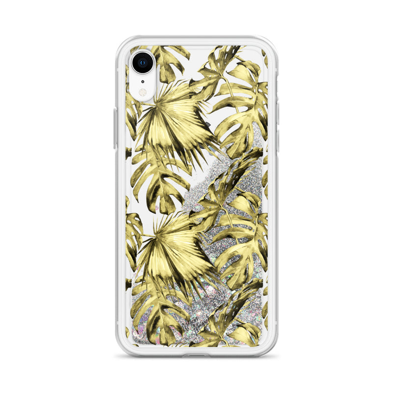 Tropical Palm Leaf Glitter iPhone Case Yellow by Nature Magick