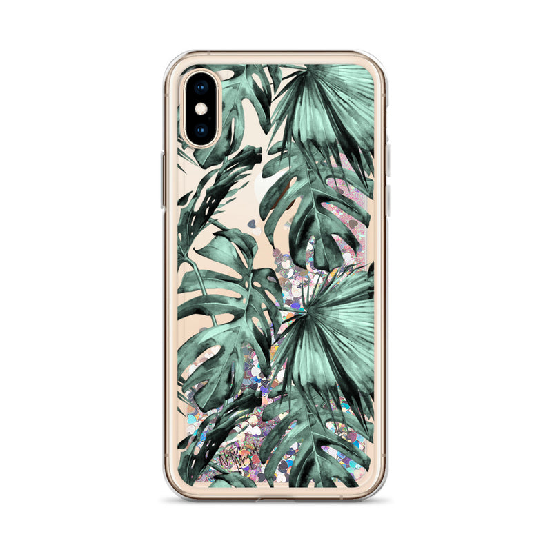 Tropical Palm Leaf Glitter iPhone Case Green by Nature Magick