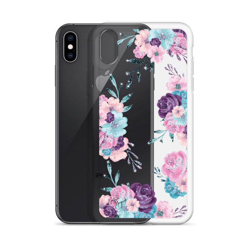 Clear Flower iPhone Case in Turquoise, Pink, and Purple Rose by Nature Magick