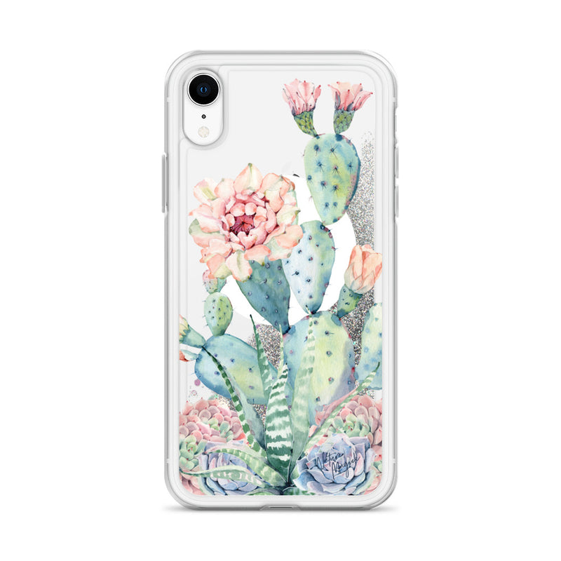 Moon Cactus Glitter iPhone Case Pink Succulent by Nature Magick