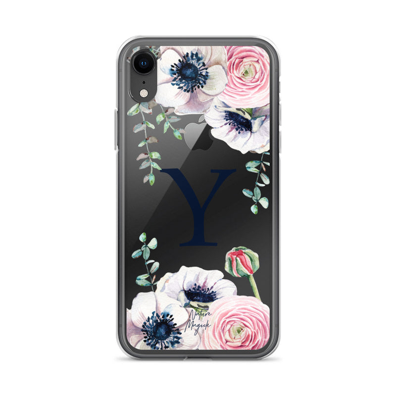 "Clear Monogram iPhone Case Initial ""Y"" Rose Flowers by Nature Magick"