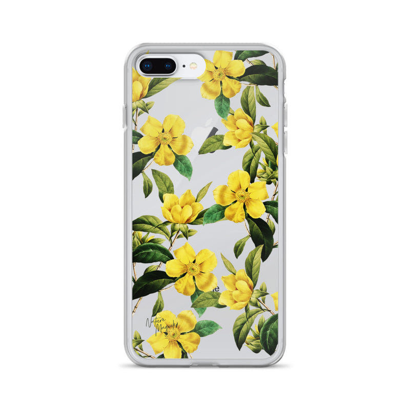 Clear Vintage Floral iPhone Case Yellow Flowers by Nature Magick