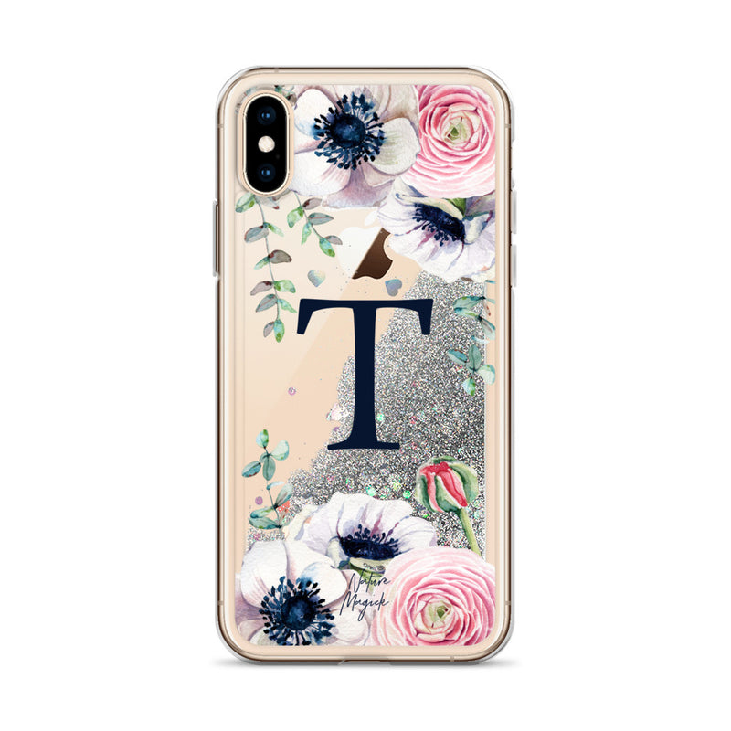 "Monogram Glitter iPhone Case Initial ""T"" Rose Floral by Nature Magick"