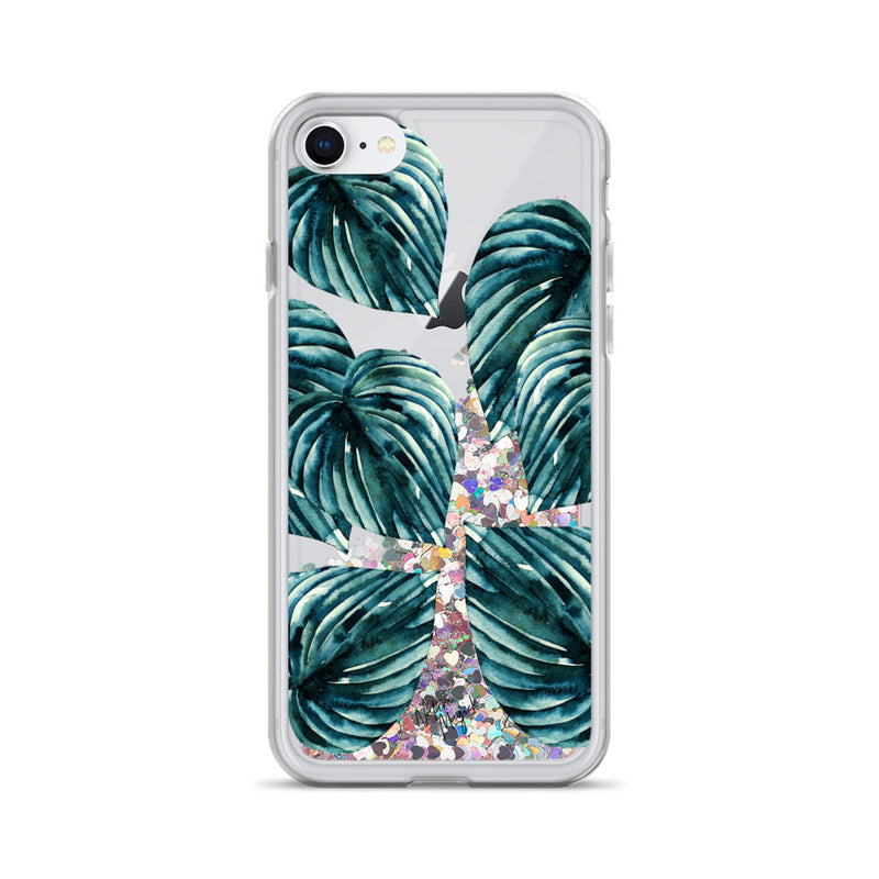 Teal Palm Leaf Glitter iPhone Case by Nature Magick