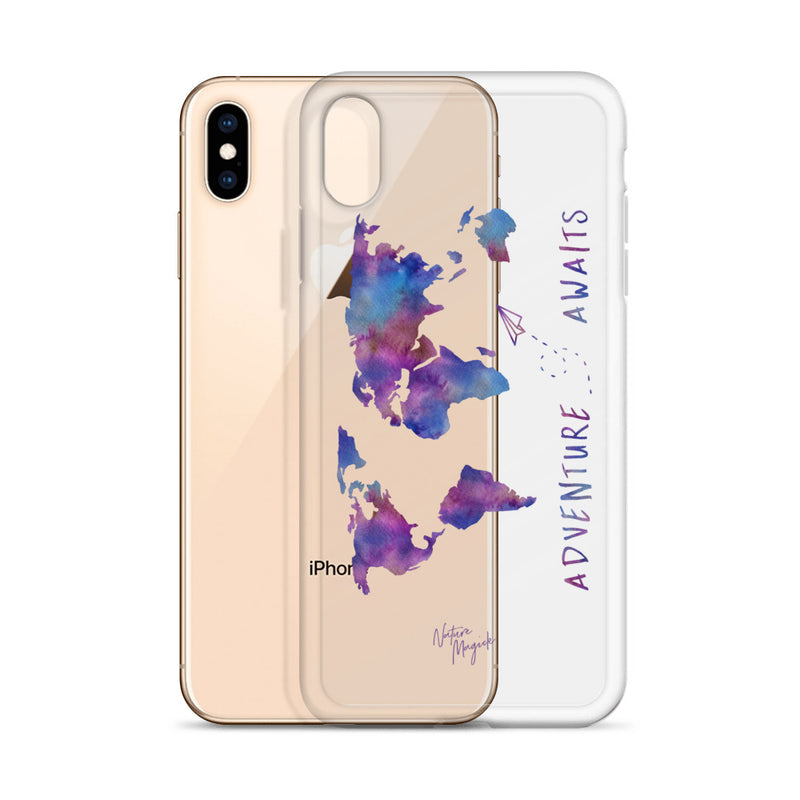 Clear World Map iPhone Case Adventure Awaits Purple by Nature Magick
