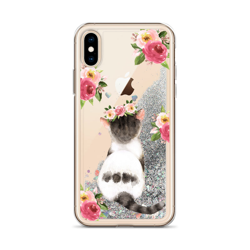 Floral Cat Glitter Phone Case for iPhone by Nature Magick