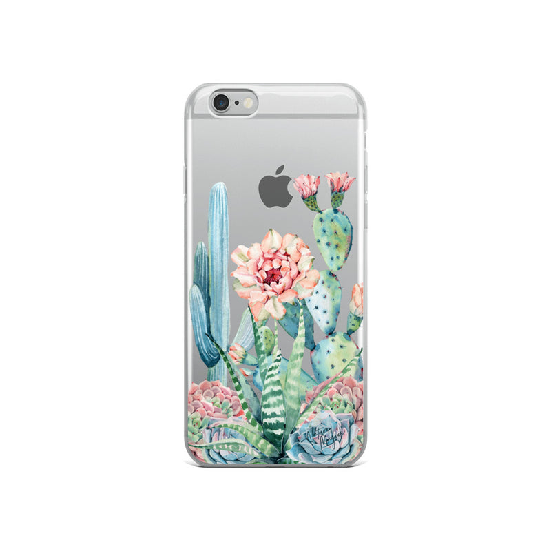 Clear Cactus iPhone Case Rose Succulent by Nature Magick