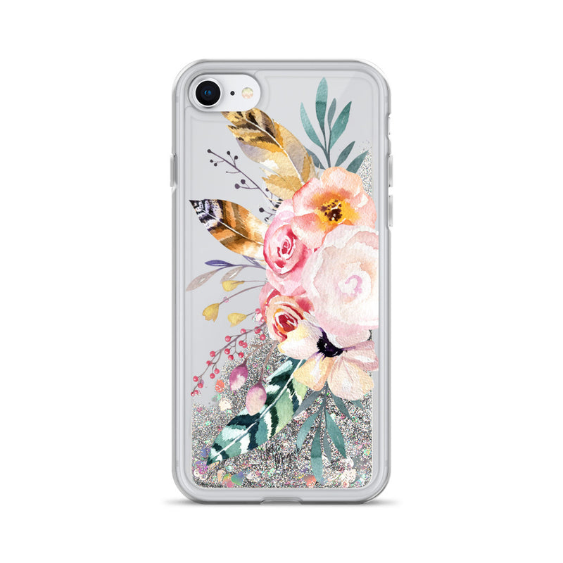 Flower Glitter iPhone Case Rose Feather Floral by Nature Magick