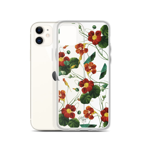 Clear Vintage Floral iPhone Case Red Flowers by Nature Magick