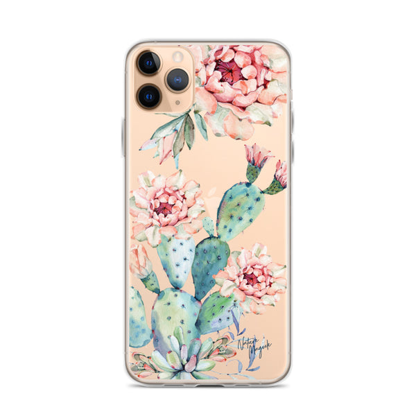 Clear Cactus iPhone Case Floral Roses by Nature Magick