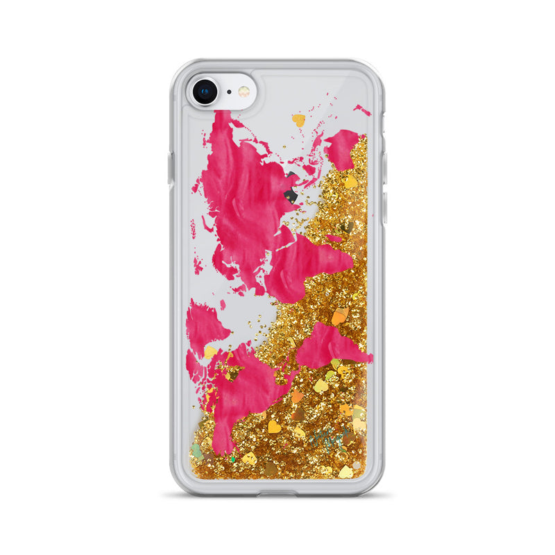 World Map Glitter iPhone Case in Pink by Nature Magick