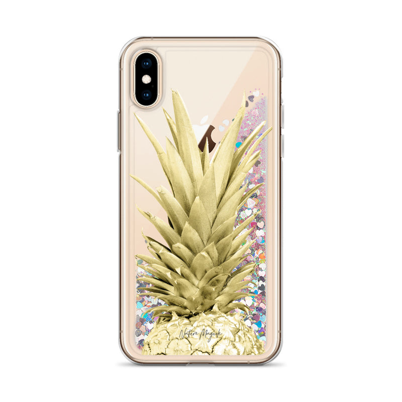 Gold Pineapple Glitter iPhone Case by Nature Magick