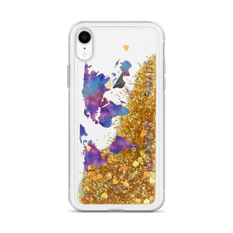 World Map Glitter iPhone Case Adventure Awaits Purple by Nature Magick