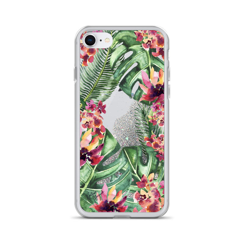 Palm Leaf Floral Glitter iPhone Case by Nature Magick