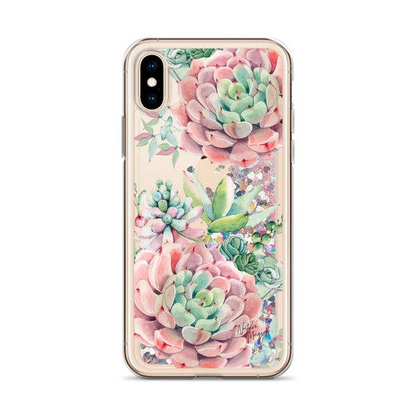 Succulent Glitter Phone Case for iPhone in Pink by Nature Magick