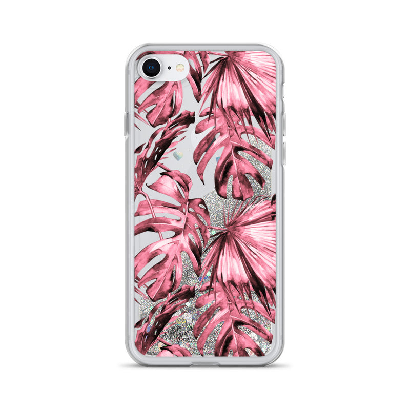 Pink Red Palm Leaf Glitter iPhone Case by Nature Magick