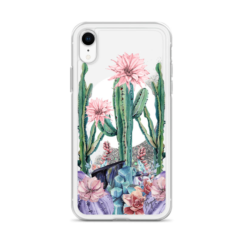 Moon Cactus Glitter iPhone Case by Nature Magick