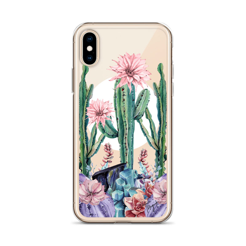 Clear Moon Cactus iPhone Case by Nature Magick