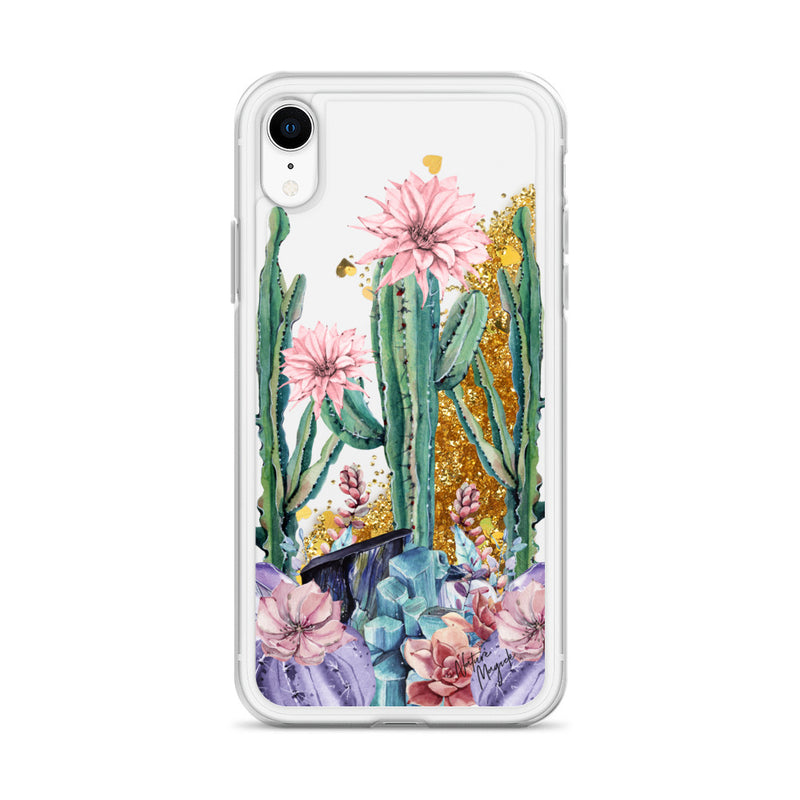 Cactus Glitter iPhone Case Succulent Gemstones by Nature Magick