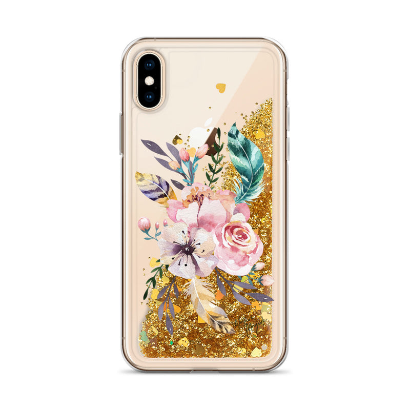 Flower Glitter iPhone Case Pink Teal Feather Floral by Nature Magick