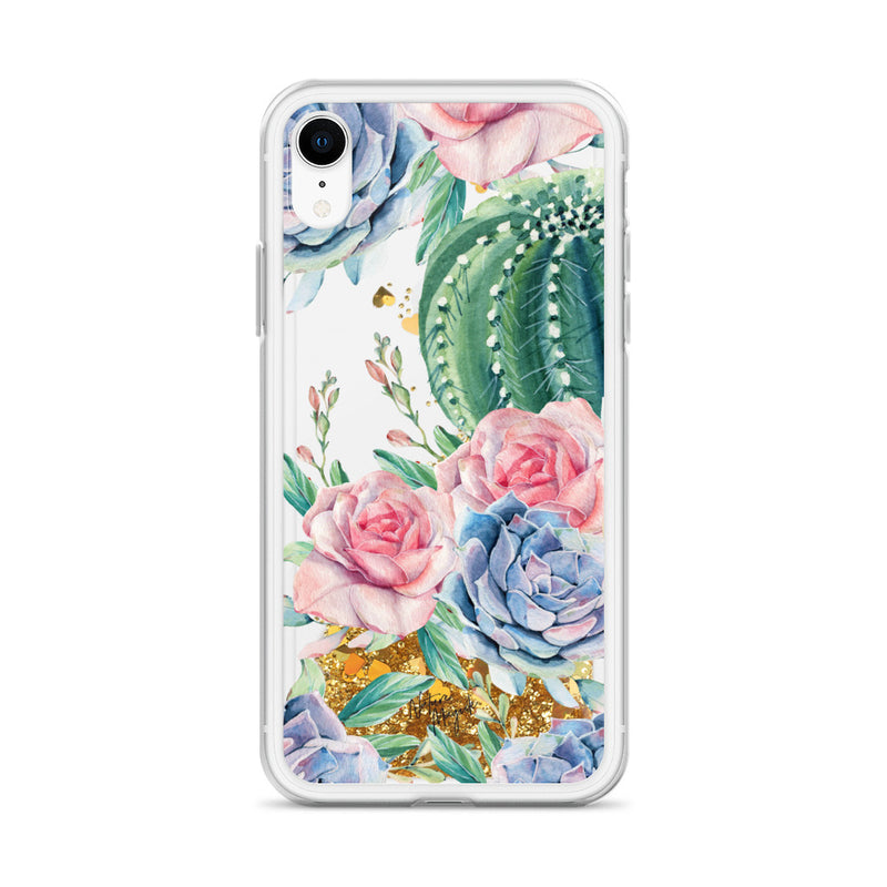 Cactus Glitter iPhone Case Succulent Roses by Nature Magick