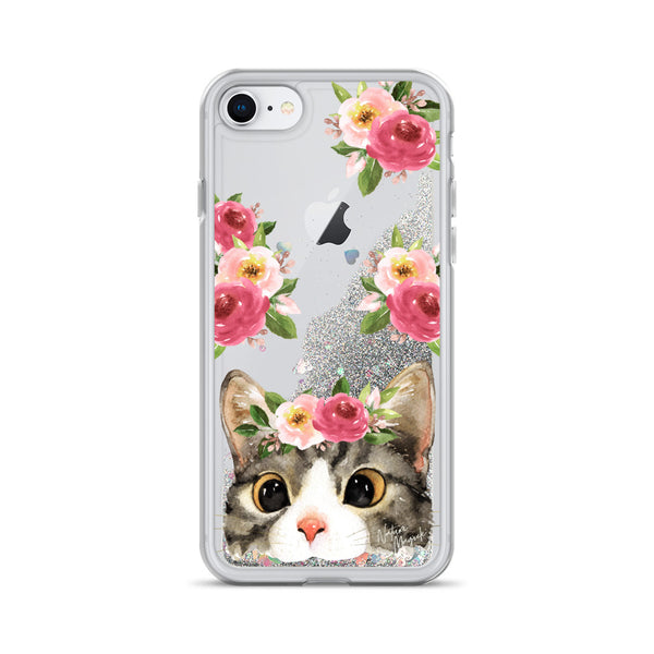 Cute Cat Glitter Phone Case for iPhone by Nature Magick
