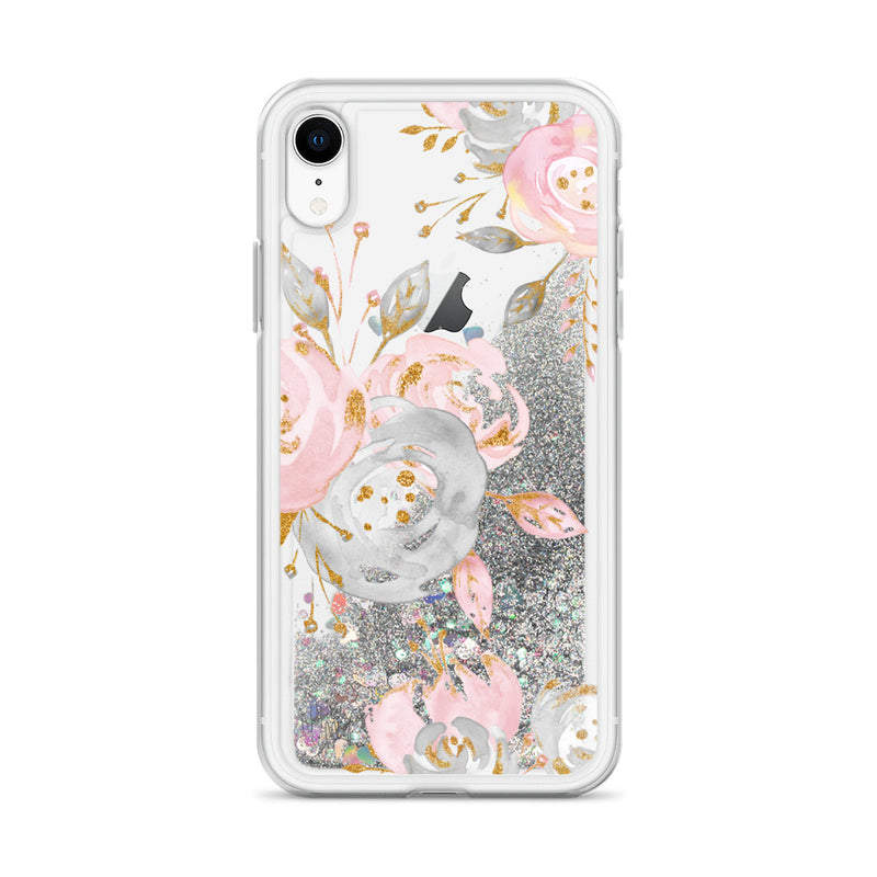 Flower Rose Gold Glitter iPhone Case by Nature Magick