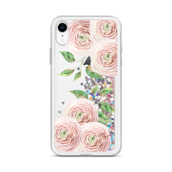 Flower Glitter iPhone Case Blush Pink Roses by Nature Magick