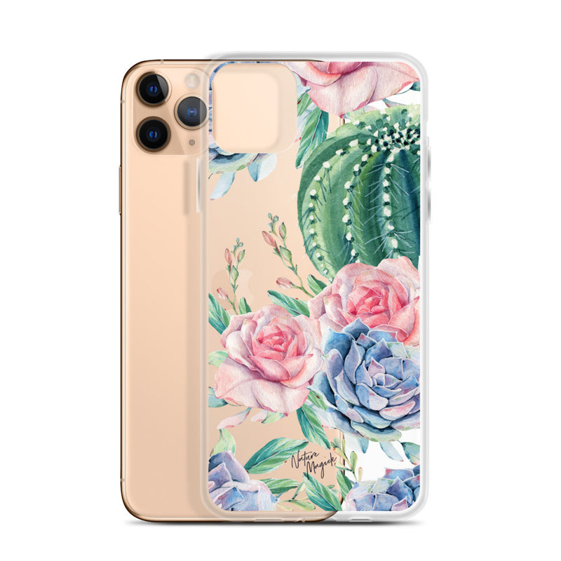 Clear Cactus iPhone Case Succulent Roses by Nature Magick