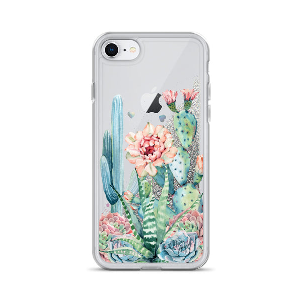 Cactus Glitter iPhone Case Rose Succulent by Nature Magick