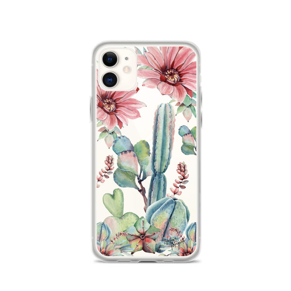 Clear Cactus iPhone Case Pink by Nature Magick