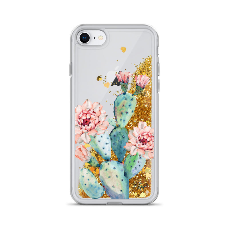 Cactus Glitter iPhone Case Rose Flower by Nature Magick